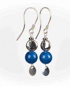 Øreringe med blå perler i jade