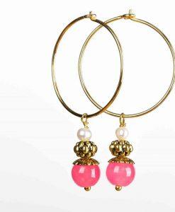 Creoler øreringe med pink jadeperler