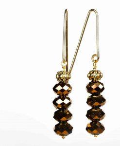 Festlige øreringe med kobberfarvede perler