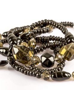 Halskæde i grå og sorte perler