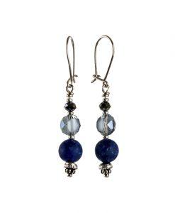 oereringe i soelv med blaa lapis lazuli perler