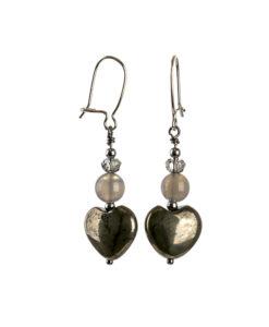 Øreringe med hjerter i pyrit sten