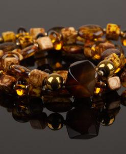 Halskæde i brun og gylden