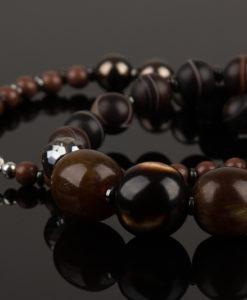 halskaede i naturlige brune perler