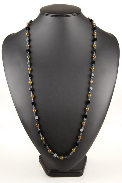lang halskaede i sort agat