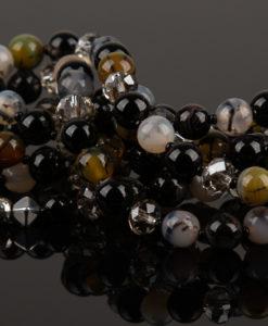 lang halskaede i agat perler
